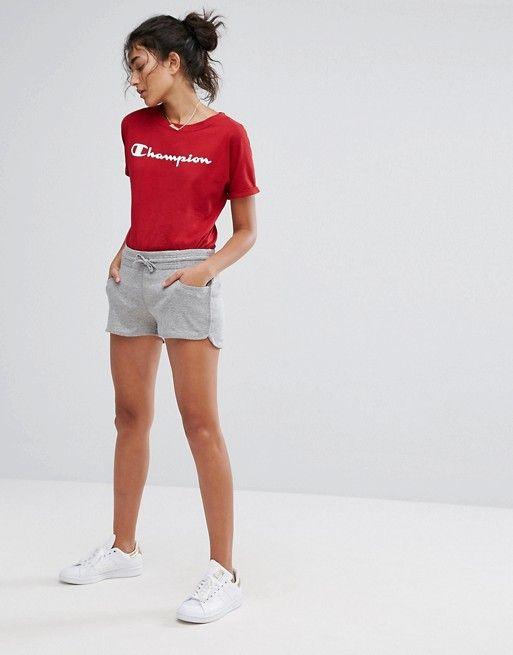 f05a786b ... Oversized Boyfriend Sweatshirt With Small Retro Logo at ASOS. Champion  Shop, Champion Brand, Grey Shorts Outfit, Shorts Outfits Women, Grey  Champion