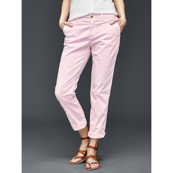 Gap Women Twill Stripe Girlfriend Chino (78 CAD) ❤ liked on Polyvore  featuring pants