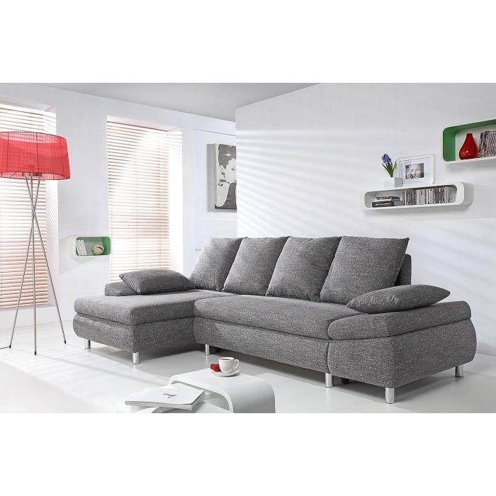 naho canap d 39 angle convertible 4 places tissu gris. Black Bedroom Furniture Sets. Home Design Ideas