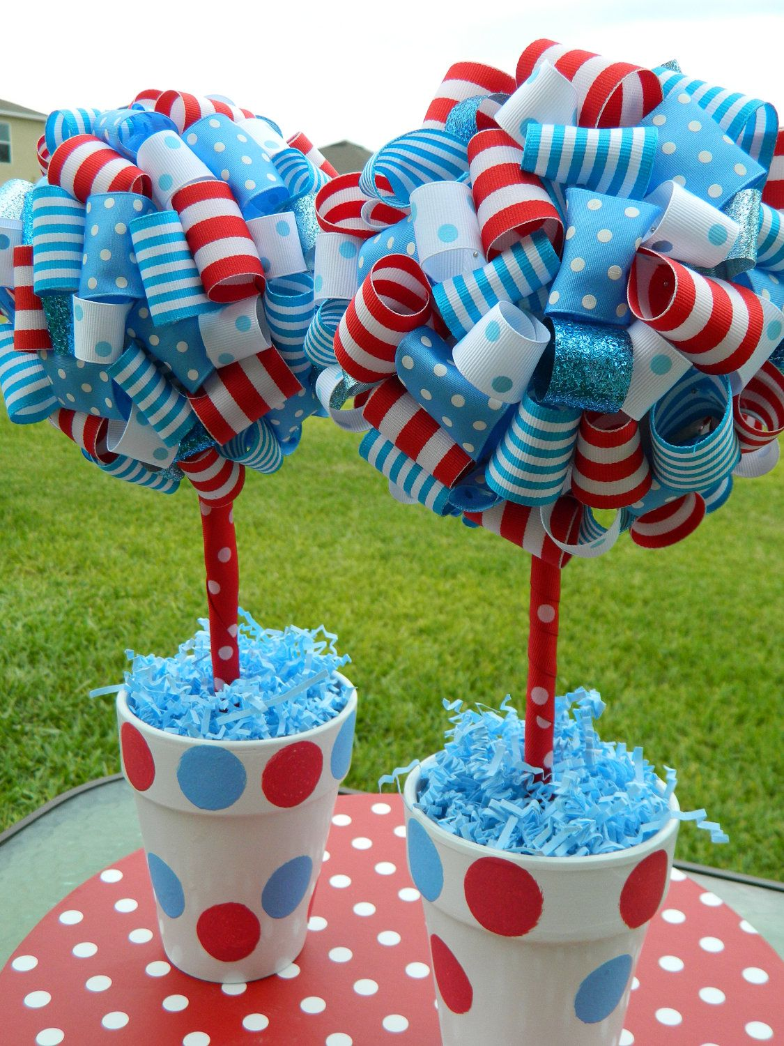 Single Ribbon Topiary In Red And White Stripes Aqua