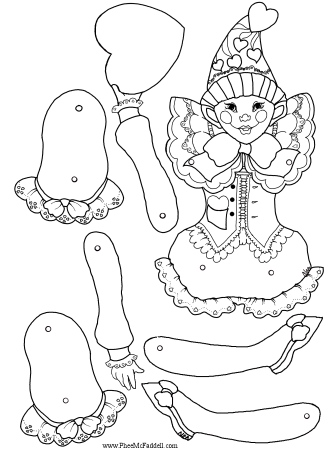Valentine Doll Puppet to Color