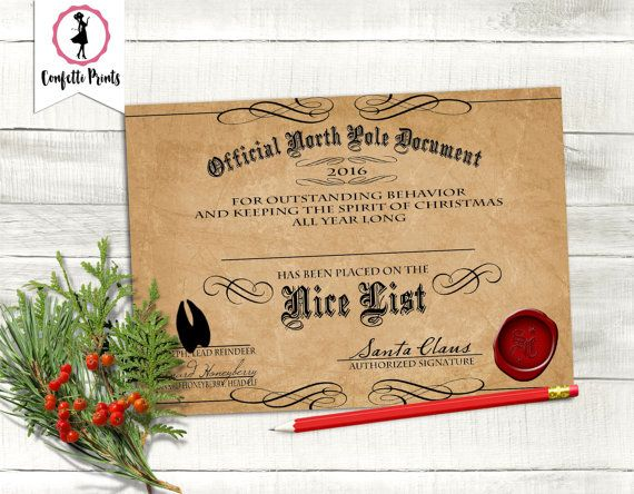 Nice list certificate santa certificate letter from santa nice list certificate santa certificate letter from santa elf report editable yadclub Image collections