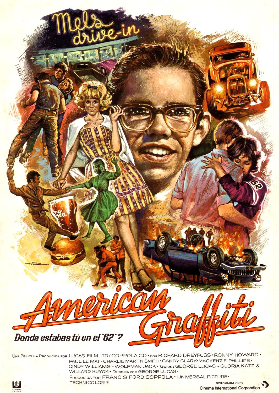 Spanish Language Poster For American Graffiti 1973 Old Movies Great Movies Famous
