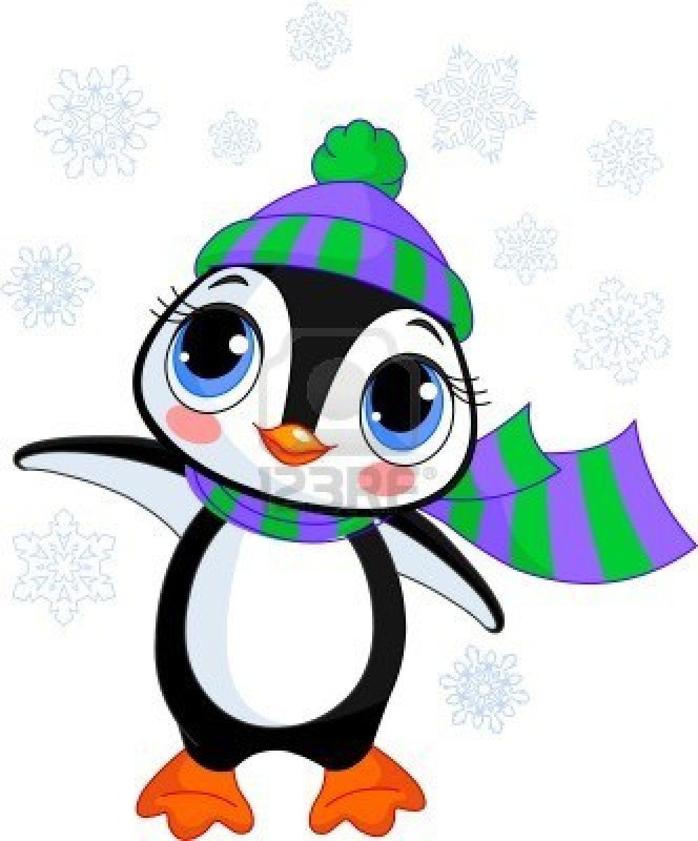 Illustratie van cute winter penguin met hoed en sjaal wijzen Stockfoto - 8008635