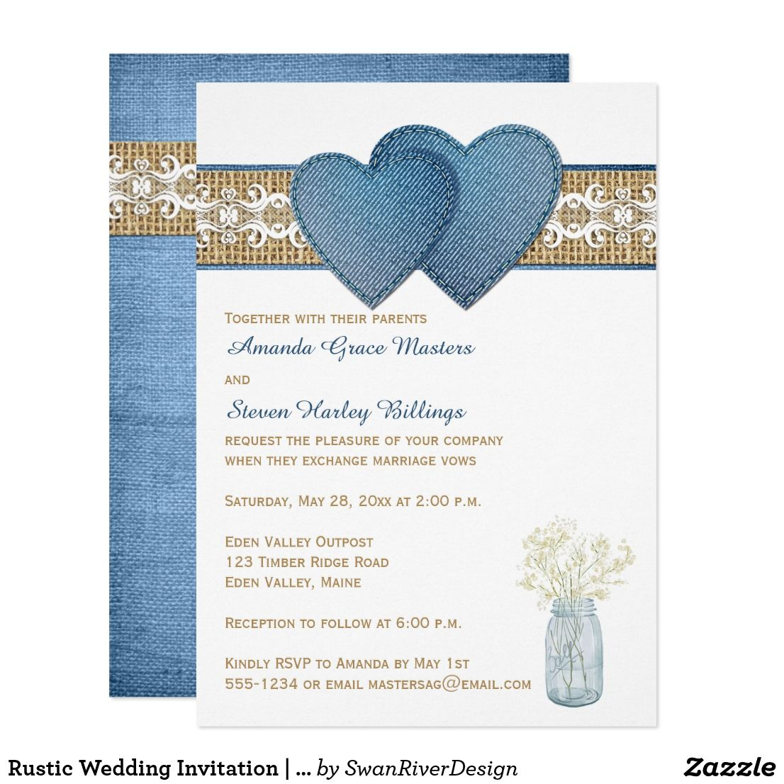 Rustic Wedding Invitation Denim Lace Burlap Wedding Burlap