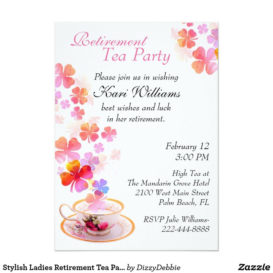 Stylish Ladies Retirement Tea Party Invitation | Tea party ...