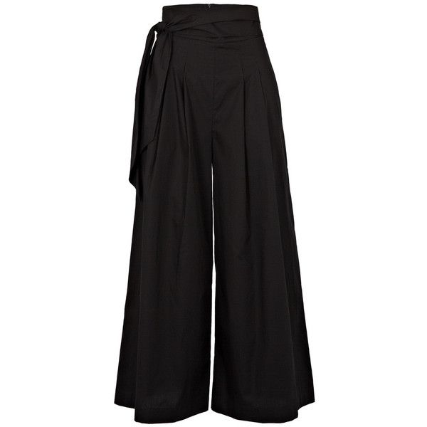 PAPER London Electric Trousers (£265) ❤ liked on Polyvore featuring pants, capris, black, paper pants, tie waist pants, wide-leg trousers and wide-leg pants
