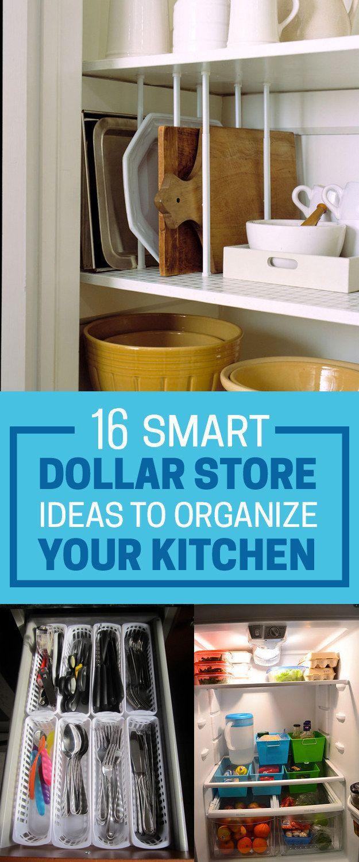 16 Smart Dollar Store Ideas To Declutter Your Kitchen Kitchen Hacks Organization Diy Kitchen Storage Storage And Organization