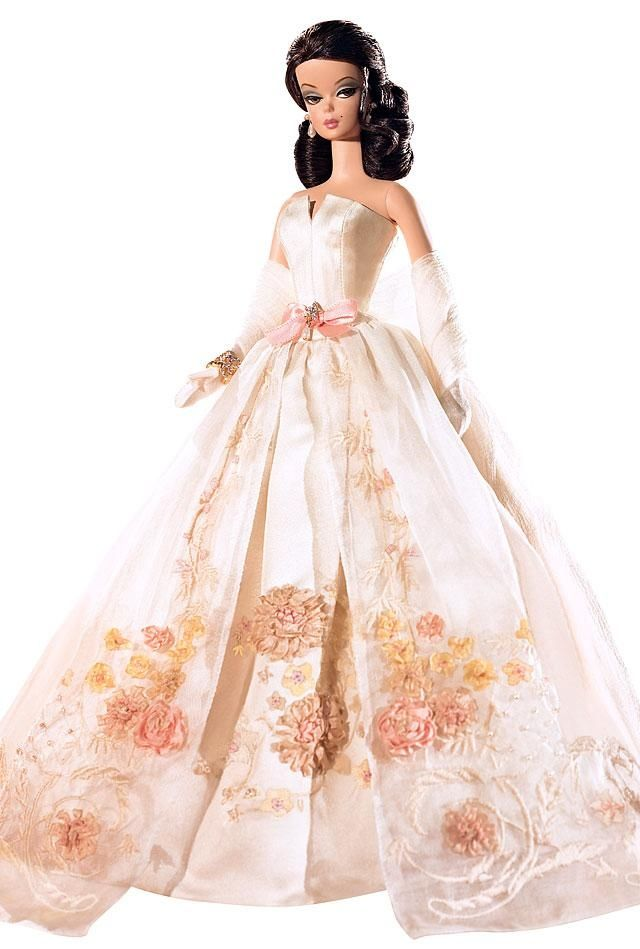A beautiful, embroidered ball gown.