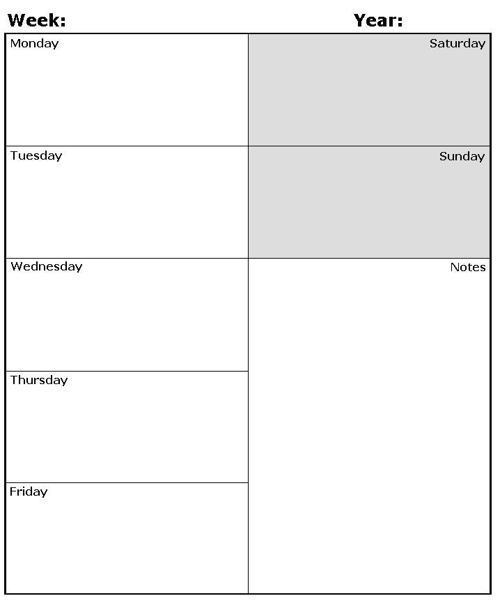Weekly planner template Homeschool Organization Pinterest - weekly calendar template
