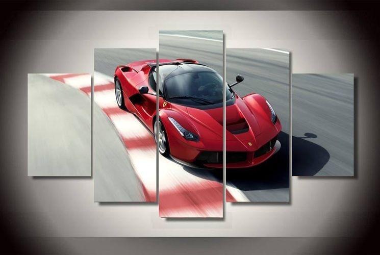 Red Ferrari Laferrari Super Car F150 Print Canvas Art Home Decor Framed Picture Canvas Wall Hanging Picture Frames Canvas Frame
