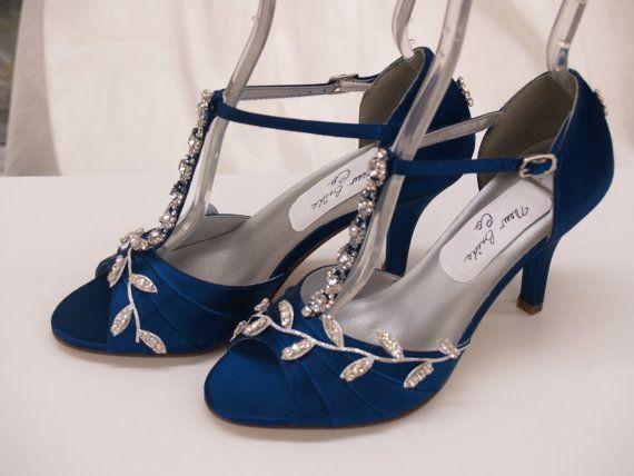 Blue Wedding Shoes Royal Blue With Silver Swarovski Crystals Peep