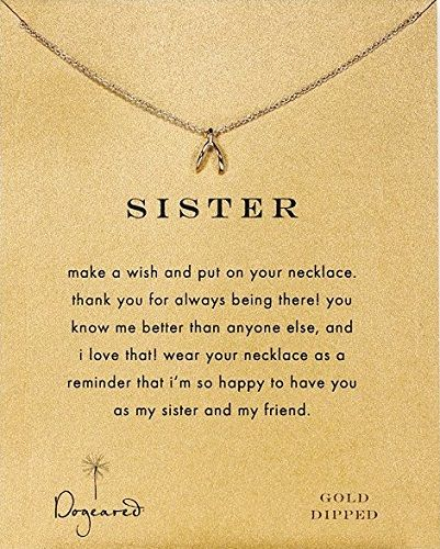 Sister Teeny Wishbone Necklace Siblings Day Ideas Gifts Gift For Sisters