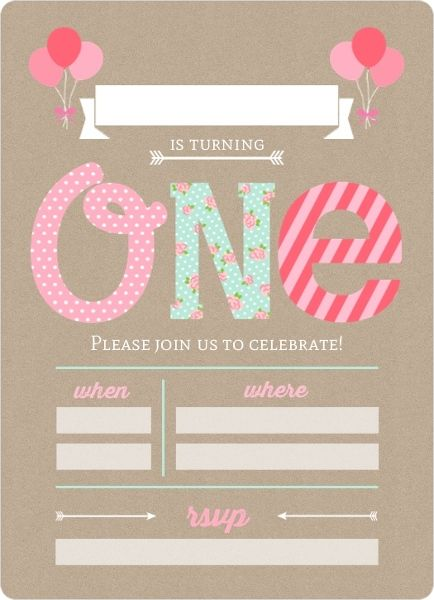 Pink And Mint First Birthday Fill In The Blank Invitation