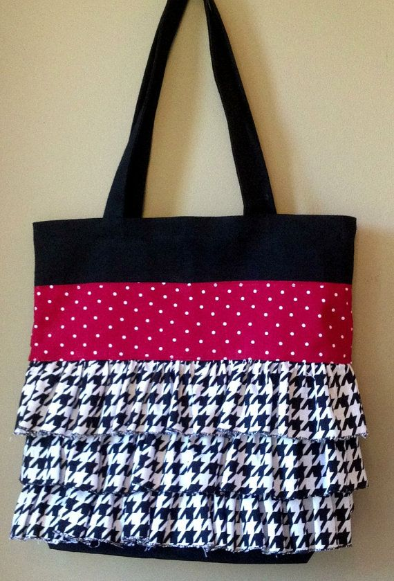 Alabama Ruffled Tote Day Bag Houndstooth By Homemakerinheels 35 00