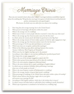 Co Ed Bridal Shower Marriage Trivia Questions