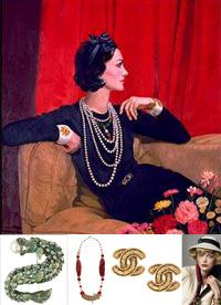 """Chanel / (1883 - 1971). Coco Chanel begins to wear jewelry that is meant for the evening, with her daytime outfits, like her long string of pearls.  She embraces jewelry and makes it """"costume jewelry"""".  Her couture house produces colorful necklaces, bracelets, lapel pins and earrings crafted from glass beads.  She commissions Duc Fullco de Verdura to design and elaborate custom jewelry using fake and semi-precious stones in ostentatious settings."""