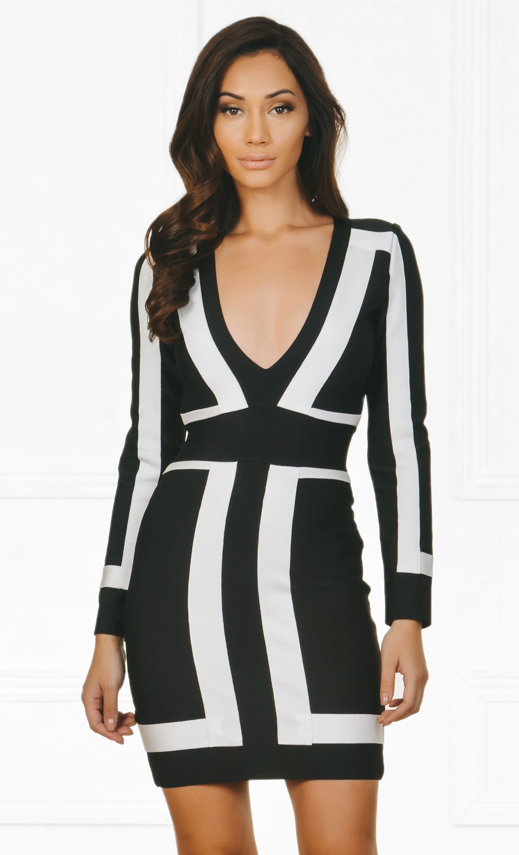 d38a2cf2dbe9 Indie XO Always On Time Black White Color Block Bandage Long Sleeve Plunge  V Neck Bodycon Mini Dress - As Seen on Amrezy