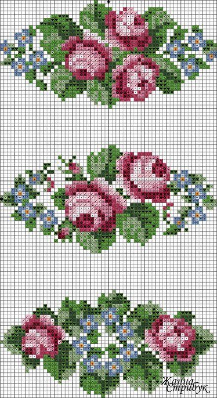 Полотенце с вышивкой крестом цветы