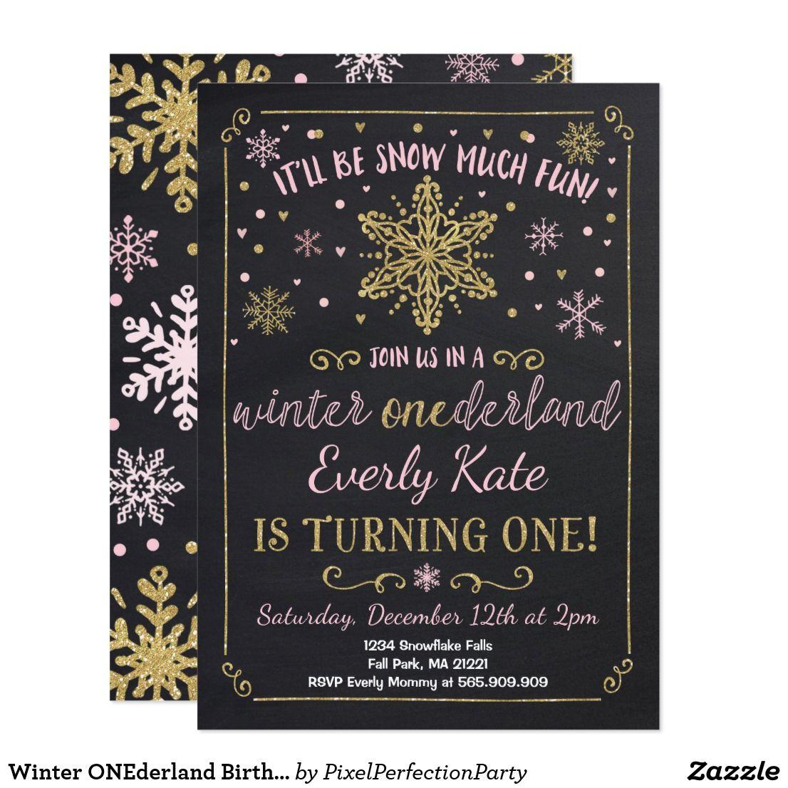 Winter ONEderland Birthday Invitation Pink Gold | Winter onederland ...
