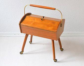 Vintage sewing basket sewing box knitting basket jewelry organizer