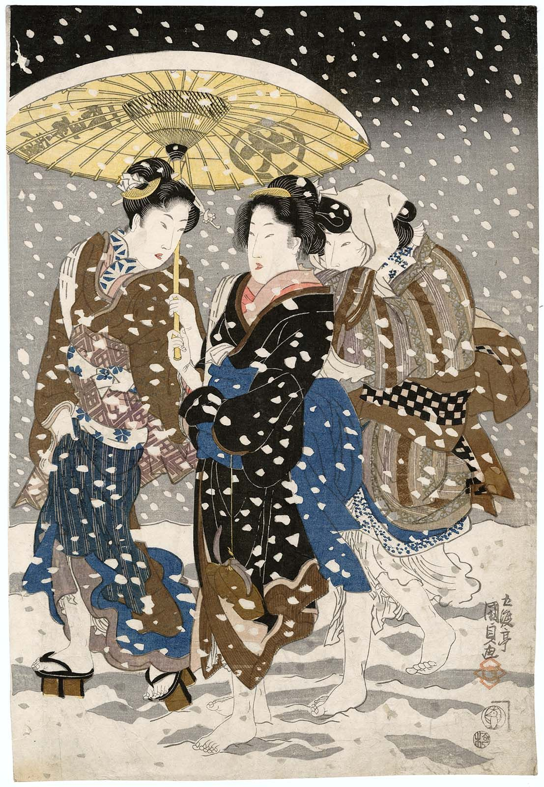 three women women walking in snow u0027 1820s by japanese artist and