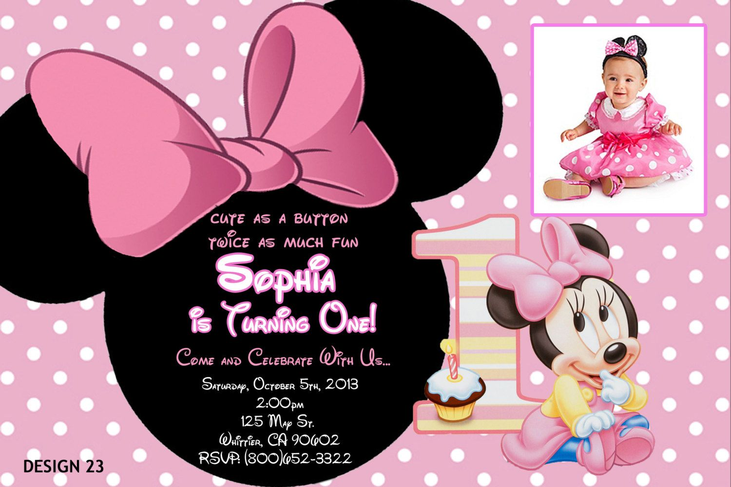 Baby Minnie Mouse 1st Birthday Personalized By ExpressInvitations 999