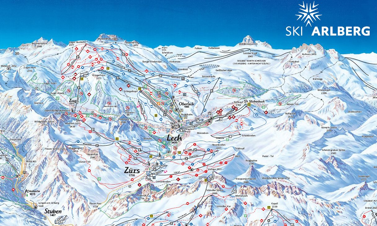 lech ski guide - piste map | ski resort guides | skiing, austrian