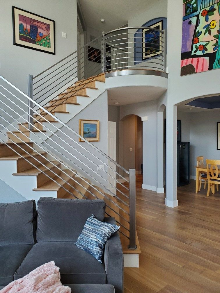 We Replaced The Worn Out Carpet With Wide Plank White Oak On Stairs And Main Level In 2020 Hardwood Floors Flooring Wood Floors