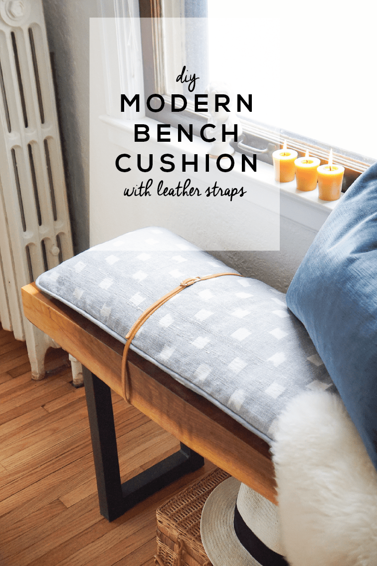 A Sewing Tutorial Covering How To Make A Modern Bench Cushion With Welting Leather Straps In Partnership W Modern Bench Cushion Bench Cushions Modern Bench
