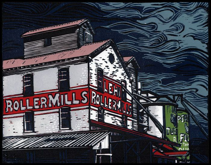 Lehi Roller Mills - Original block print by Manny Mellor from The Timpanogos Printshop