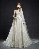 Горячая half-рукава длинное кружева свадебные платья с баска шея-линии развертки поезд свадебное платье свадебные платья Casamento