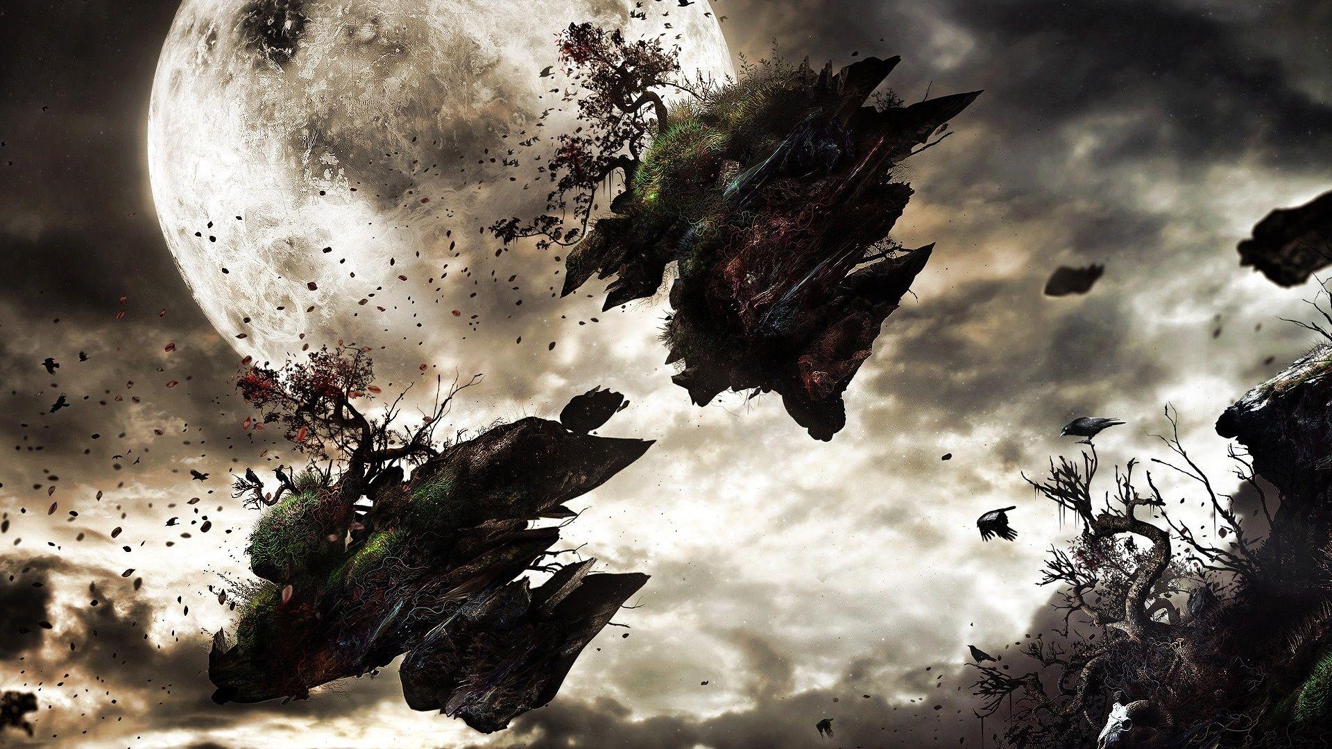 Http Dark Pozadia Org Images Wallpapers 24835556 Dark Dark 20moon 20surreal 20scene Jpg Dark Wallpaper Art Wallpaper Fantasy World