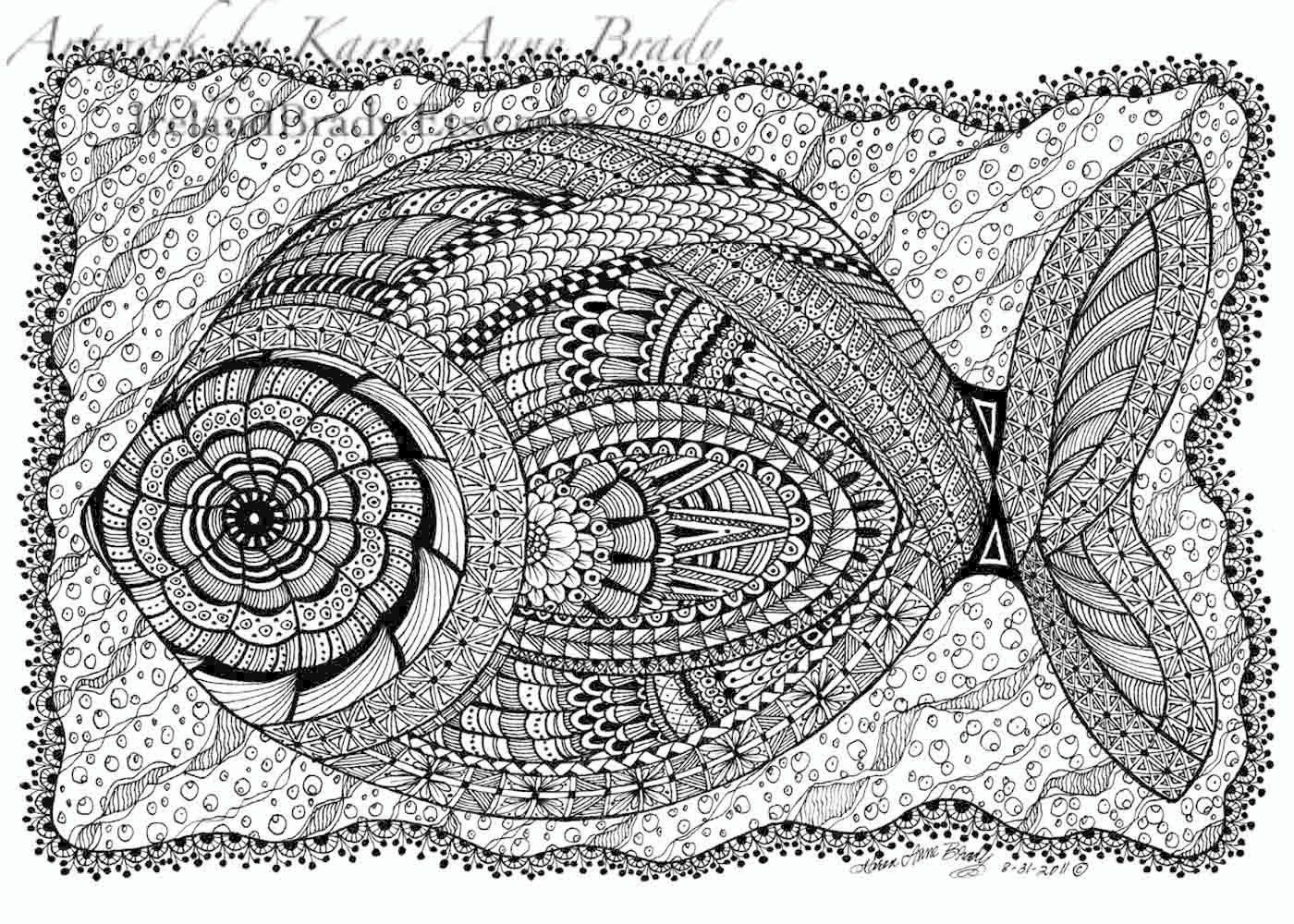 Aceo open edition print rosa 39 s flounder zentangle - Doodle dessin ...