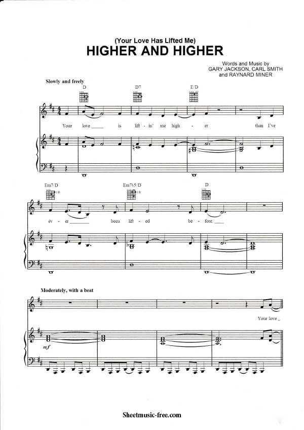 Higher and Higher Sheet Music Jackie Wilson Download Higher and - chord charts examples in word pdf