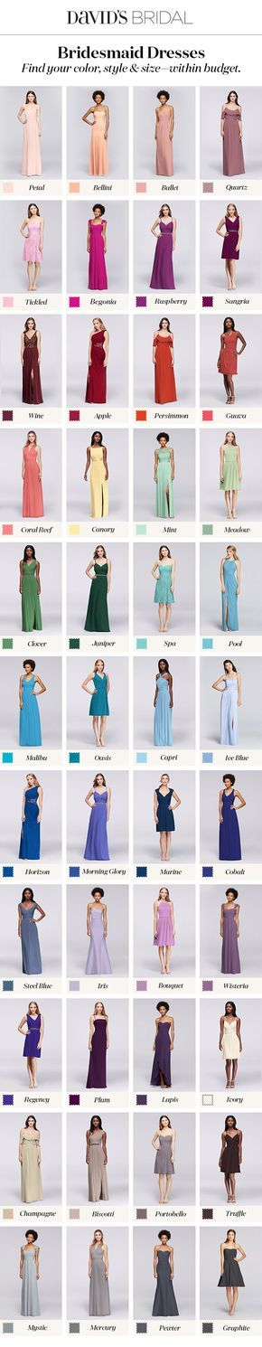 Bridesmaid dresses in your color with styles to fit every friend & every budget.