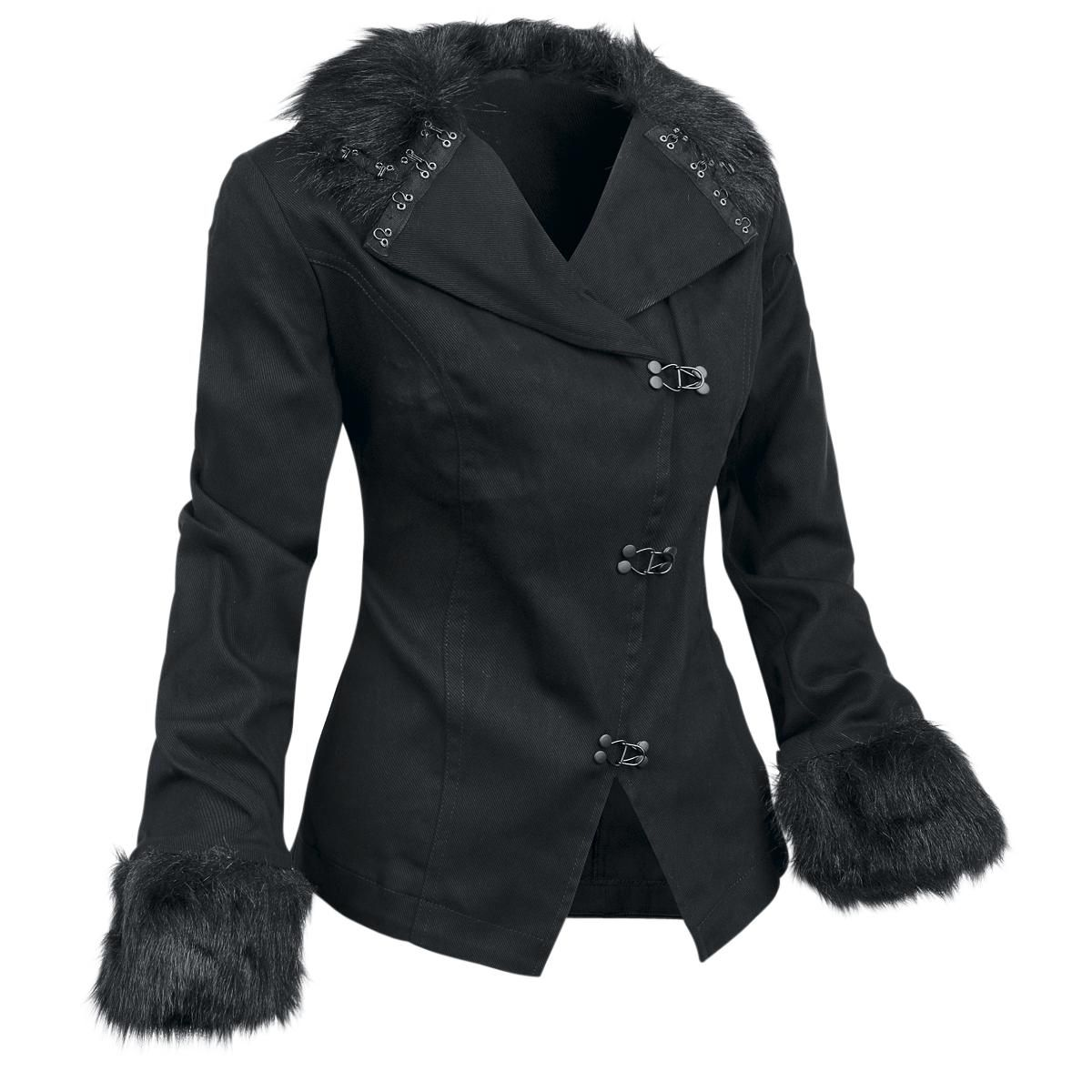 Angular hook closure on the front, imitation fur made of 100% polyester.