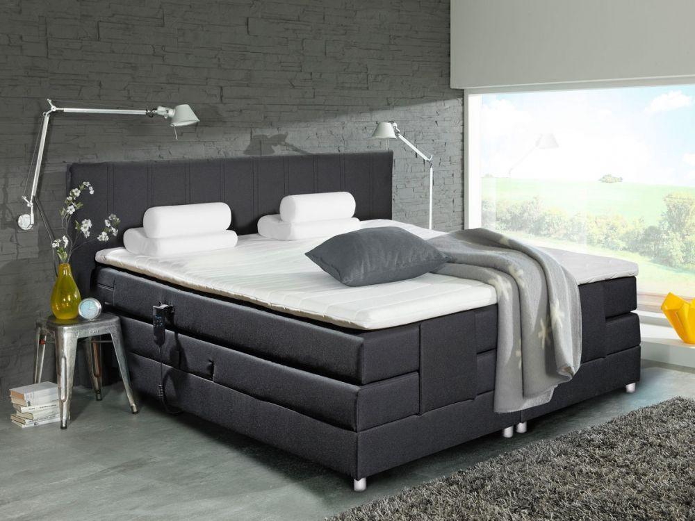 AMSTERDAM Boxspringbett   Doppelbett 180x200 schwarz mit Motor - schlafzimmer schwarz