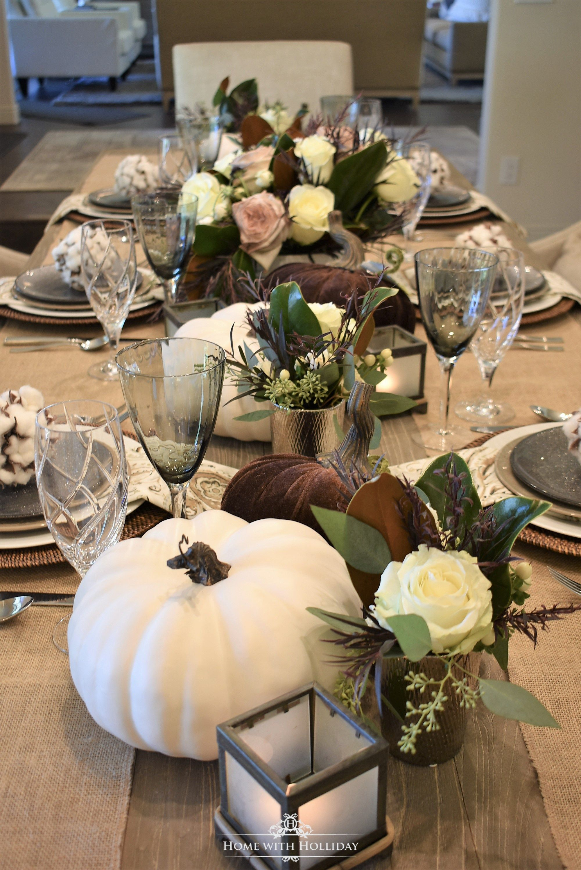 Fall Table Setting With Brown And White Pumpkins Home With Holliday Fall Table Settings Pumpkin Table Decorations Fall Table