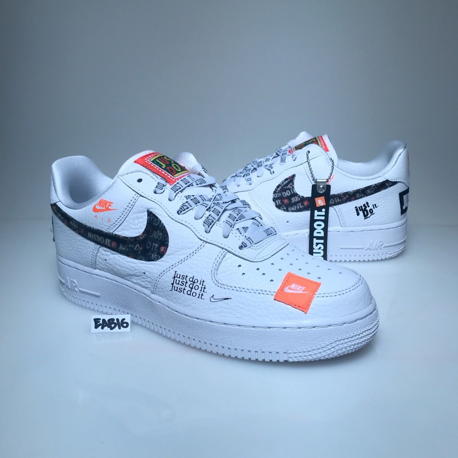 Nike Air Force 1 One Low 07 Prm Jdi Just Do It White Black Orange Af1 Ar7719 100 Nike Air Shoes Sneakers Nike Air Max Nike Air