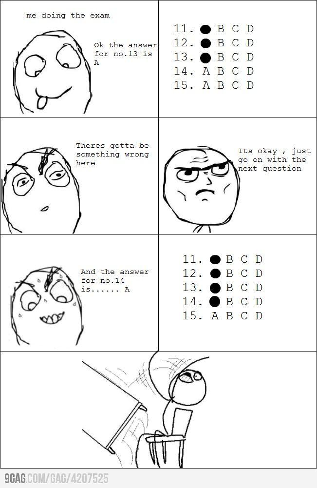 When taking exams...