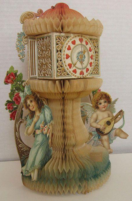 Clock Tower, Cupid ~ Large Antique Honeycomb Valentine