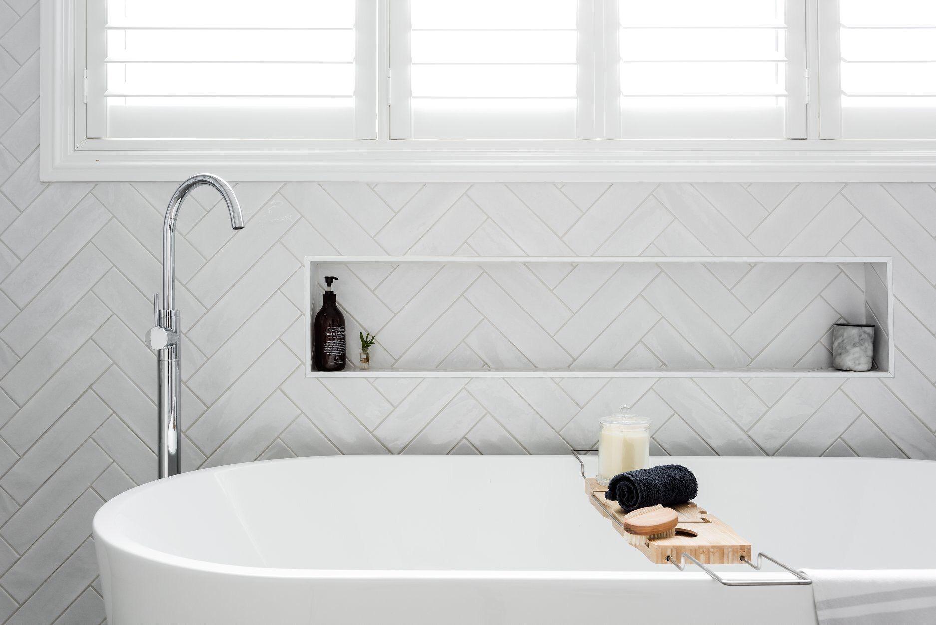 Hampton S Bathroom White Tile Herringbone Subway Tile