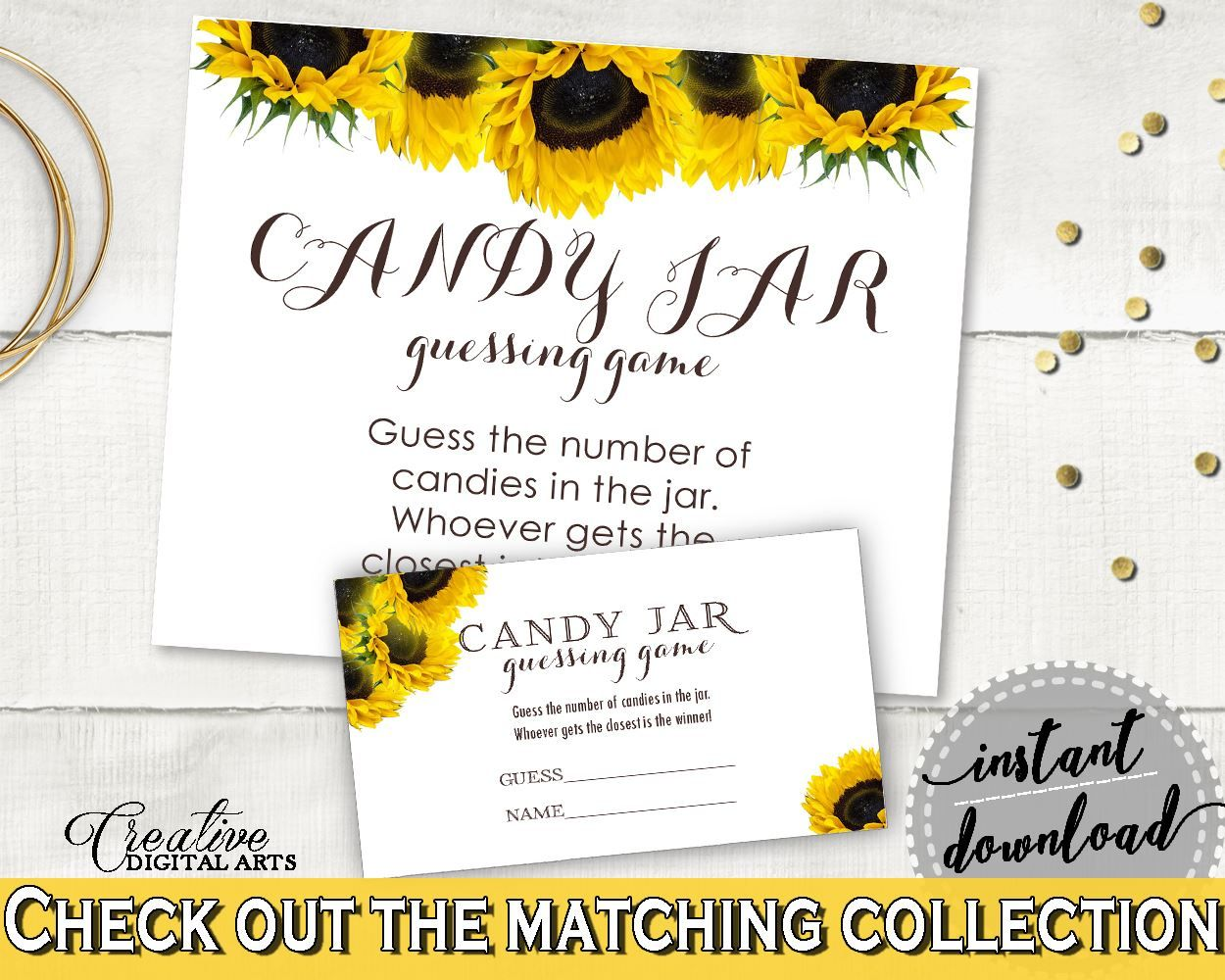 Candy Guessing Game Bridal Shower Candy Guessing Game Sunflower Bridal Shower Candy Guessing Game Bridal Shower Sunflower Candy SSNP1 - Digital Product #bride #bridal