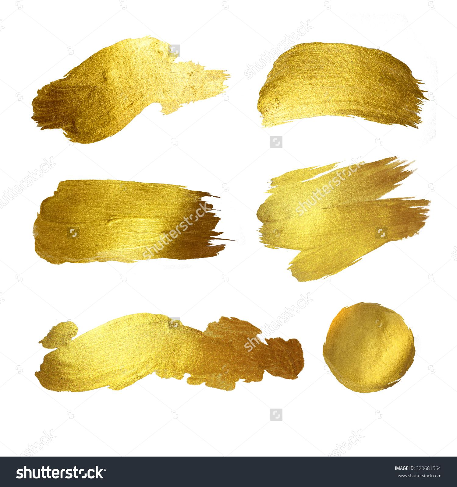 Gold Watercolor Texture Paint Stain Abstract Illustration Set ...