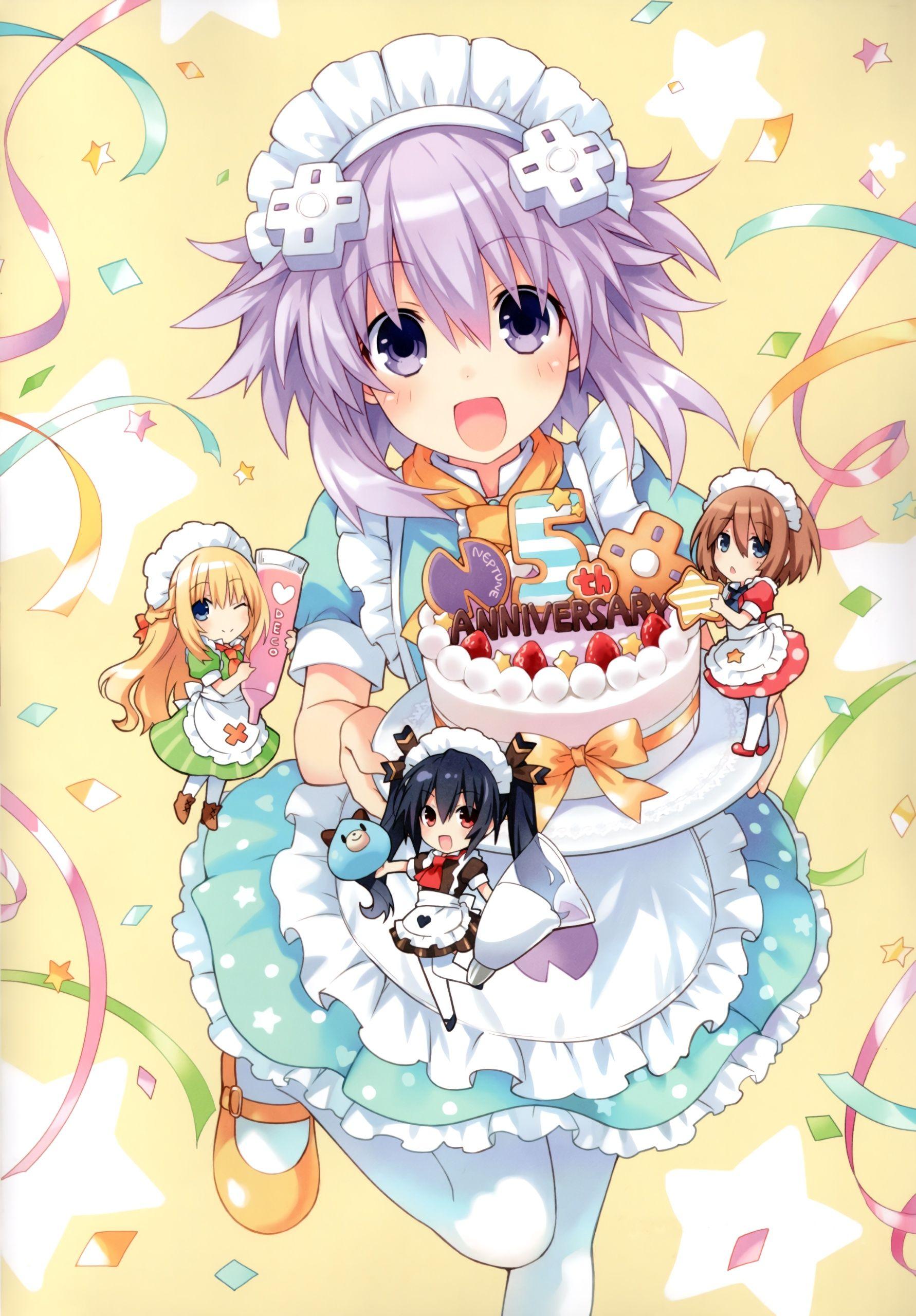 Hyperdimension Neptunia 5th anniversary poster Anime