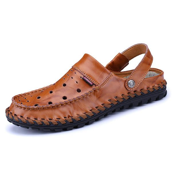 85d8c4269c6 Men Breathable Hollow Out Leather Slippers Sandals  Breathable  Hollow   Leather  Slippers  Sandals  Out  Men