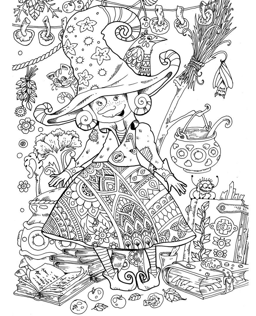 Witch Coloring Page Sheet