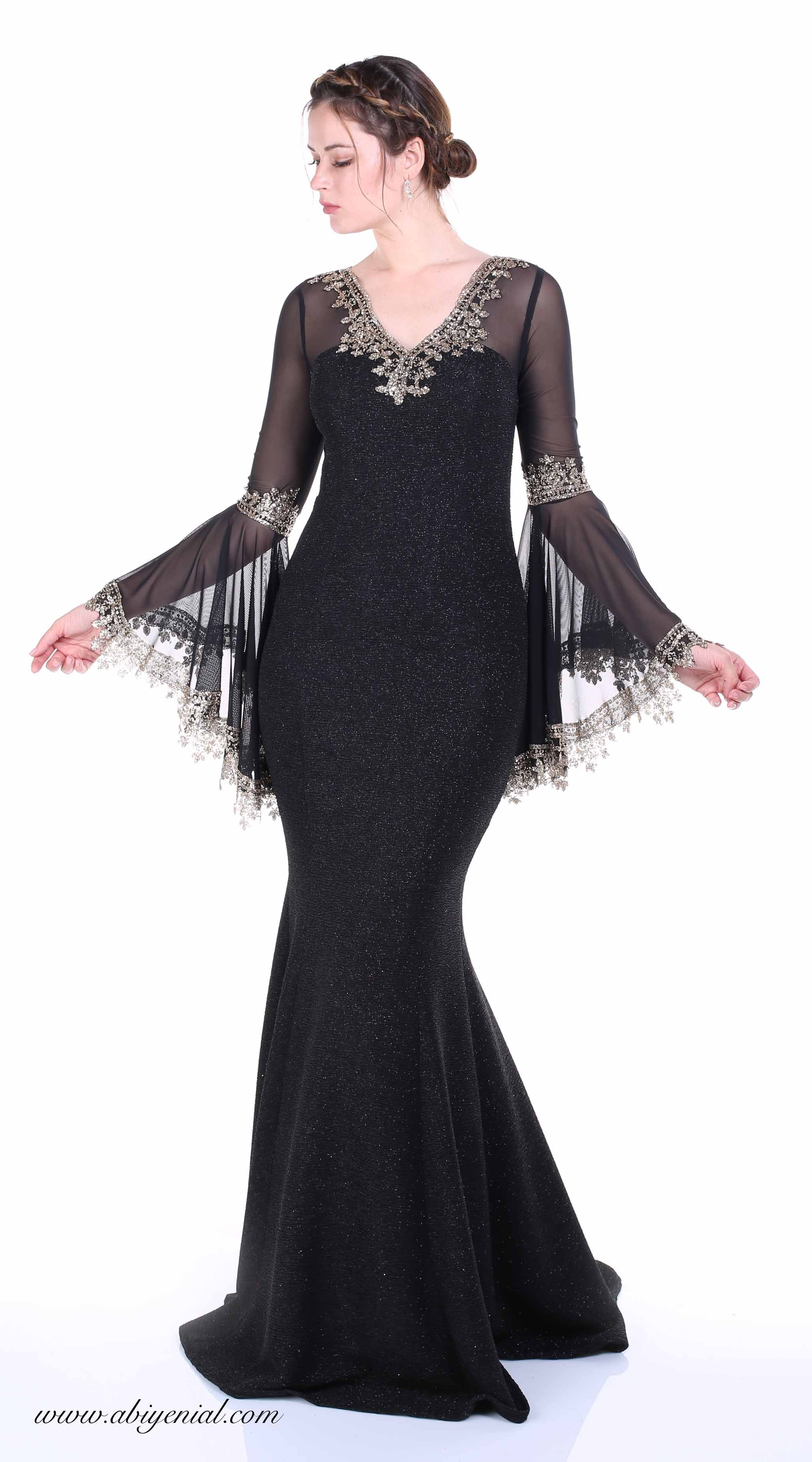 39067ea675d25 Siyah uzun abiye elbise, V yaka, Volan kol #simlikumaş #krep #siyah ...