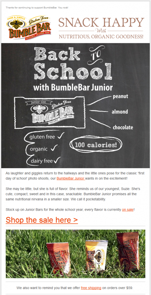Bumblebar's August Email Template | Email Marketing | Pinterest ...